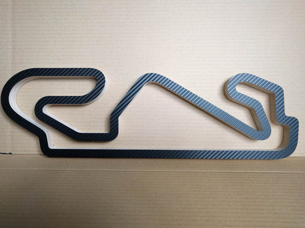 580mm size Circuit de Barcelona-Catalunya Formula One and Moto Grand Prix Racing Track Wall Art Replica Ready to Ship in a Carbon Finish
