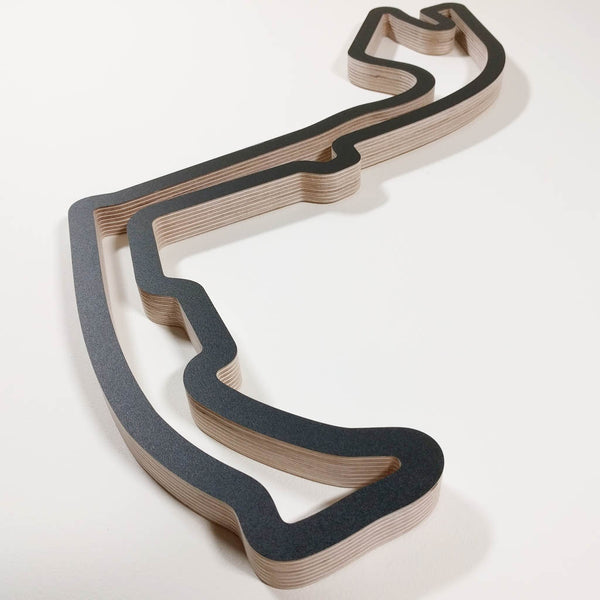 Circuit de Monaco Formula 1 GP Wooden Motorsport Race Track Wall Art Sculpture Low Aerial Viewed from Anthony Noghes in a Black Finish