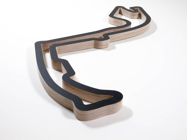 Circuit de Monaco F1 Grand Prix Wood Race Track Wall Art Sculpture Aerial View from Anthony Noghes in a Black Finish
