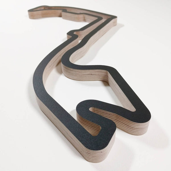 Circuit de Monaco Monte Carlo Wooden Motorsport Wall Art Sculpture Low Aerial View from Portier Corner in a Black Finish