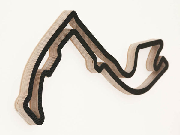 Circuit de Monaco Formula 1 Racing Track Wooden Sculpture Left Angle in a Carbon Finish
