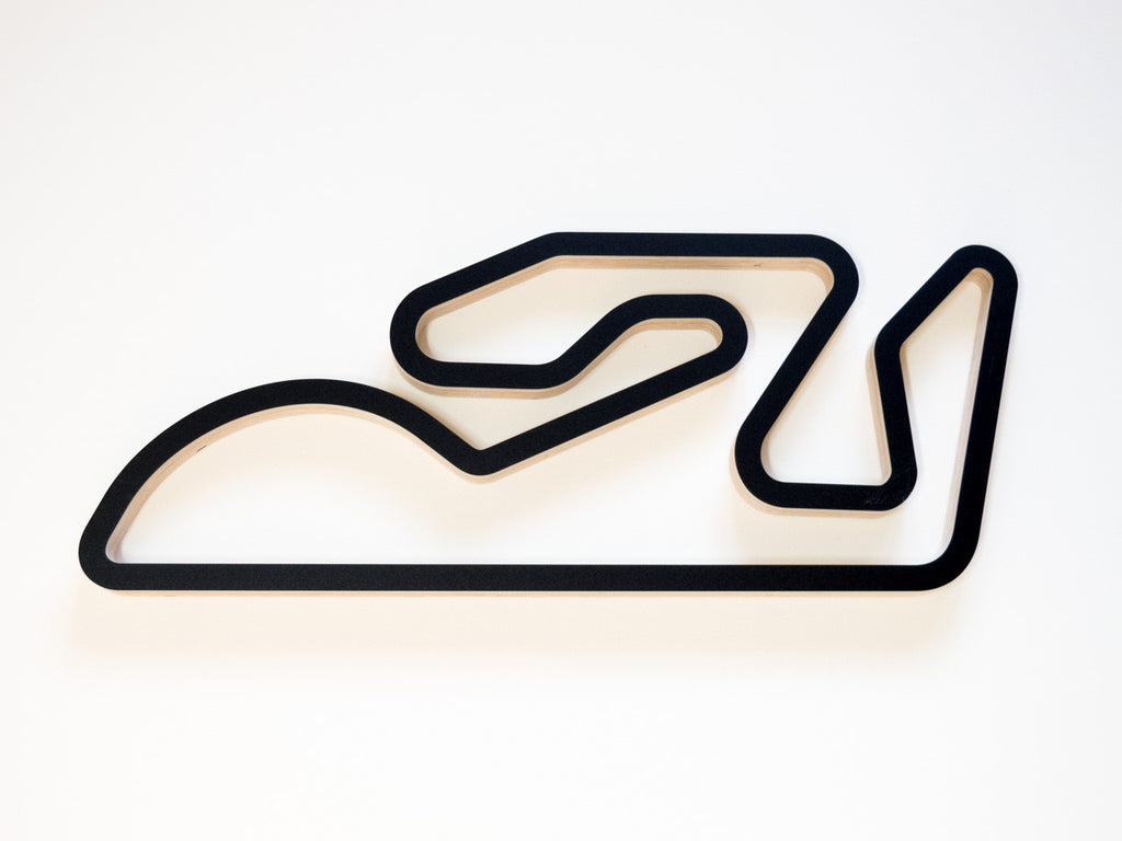 Valencia Ricardo Tormo Circuit Wooden Wall Art in Black Finish