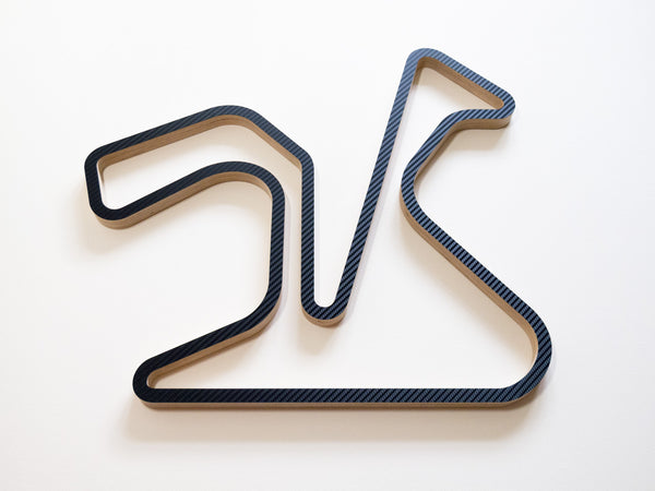Circuito de Jerez Wood Motorsport Wall Art in Carbon Lower Angle