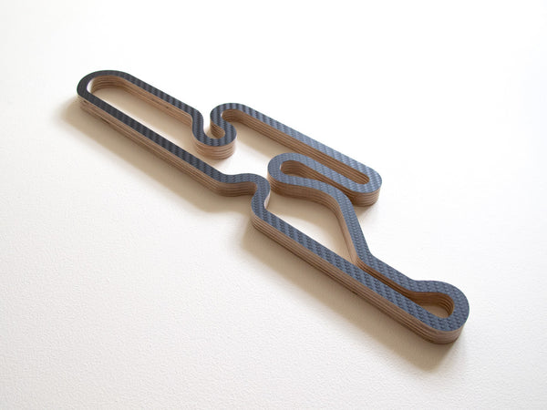 Dunkeswell Kart Racing Club Circuit Wooden Wall Art Sculpture in Carbon