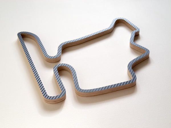 Hungaroring in Budapest 360mm Wooden Racing Circuit Wall Sculpture in Carbon
