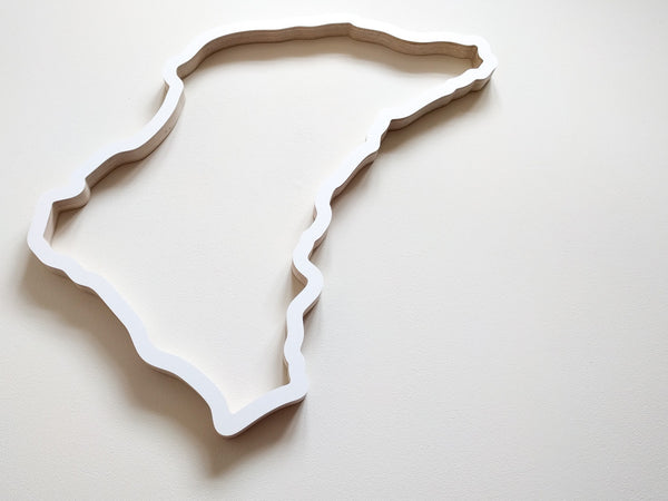 Isle of Man TT Circuit Racing Track Wall Art in White 580mm Size