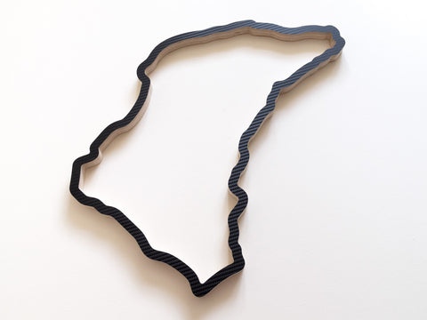 Isle of Man TT Circuit Racing Track Wall Art in Carbon Finish 580mm Size