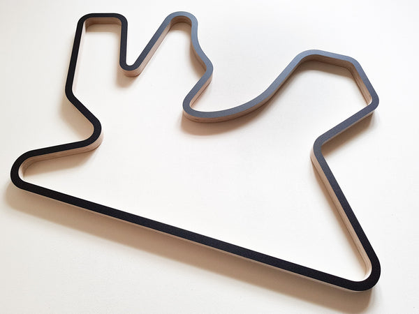 Losail International Circuit Wooden Racing Circuit Wall Art Sculpture 910mm in Black