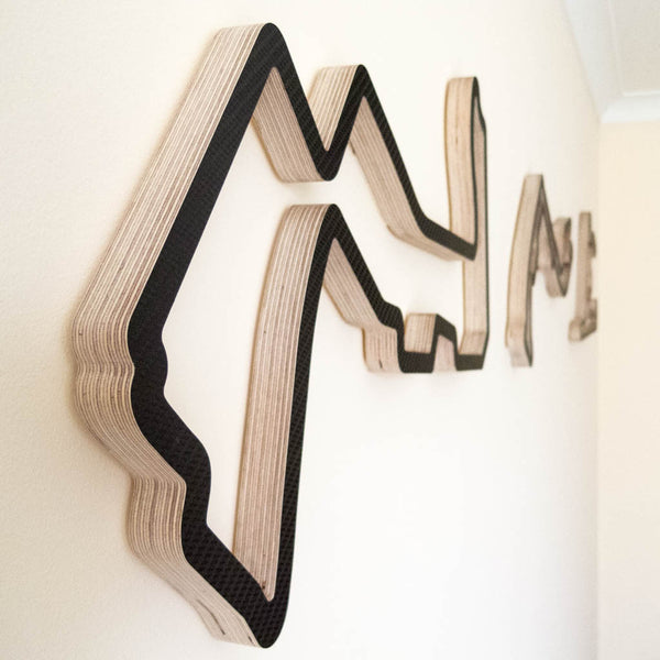 Marina Bay Street Circuit in the Foreground in a F1 GP Wooden Racing Course Wall Art Sculpture Collection in a Carbon Finish