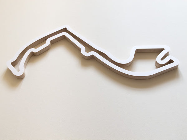 Circuit de Monaco Wooden Wall Art in White