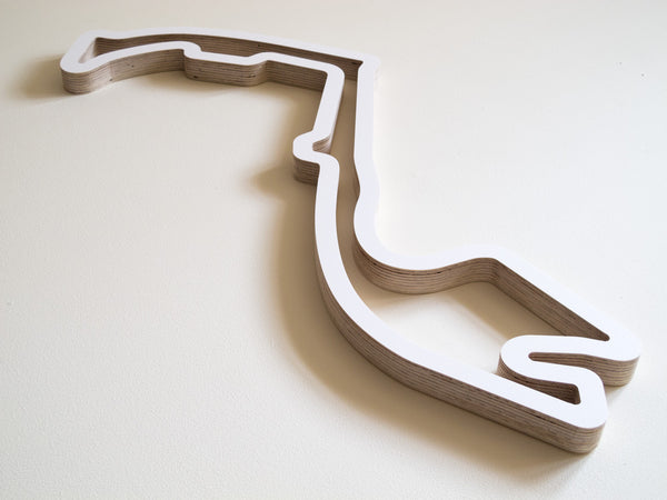 Circuit de Monaco Wooden Art in White