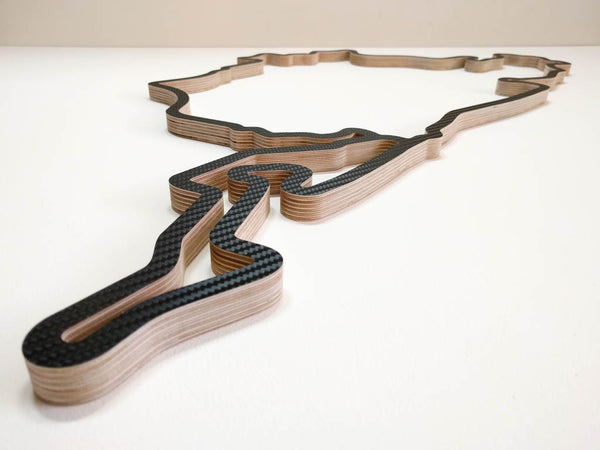 Nurburgring Wooden Motorsport Racing Track Wall Art Sculpture with Detail of Grand Prix Circuit in the Foreground in a Carbon Finish