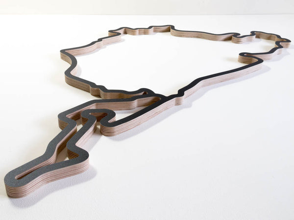 Nurburgring Circuit Complete with GP and Nordschleife Wooden Racing Course Wall Art Model Lowest Aerial View in a Black Finish