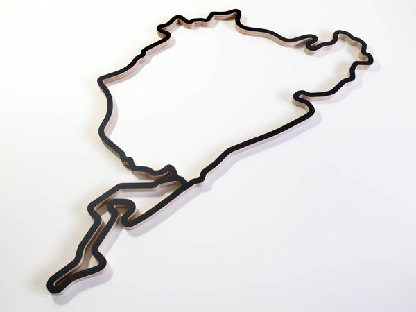 Nurburgring Complete Circuit with Grand Prix Track and Nordschleife Wooden Racing Course Sculpture Aerial View in a Black Finish