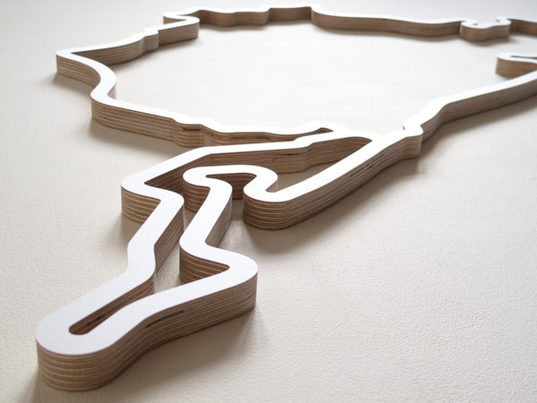 Nurburgring Full Route Wood Race Circuit Carving in White