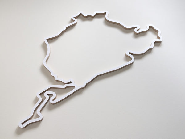 Nurburgring Wooden Racing Circuit Wall Sculpture in White