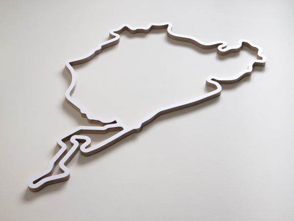Nurburgring Wooden Motorsport Track Wall Art in White