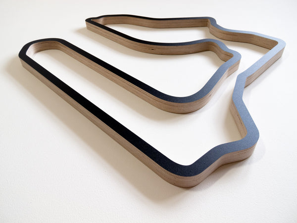 Sebring International Raceway Wooden Wall Art Carving in a Black Finish Low Angle