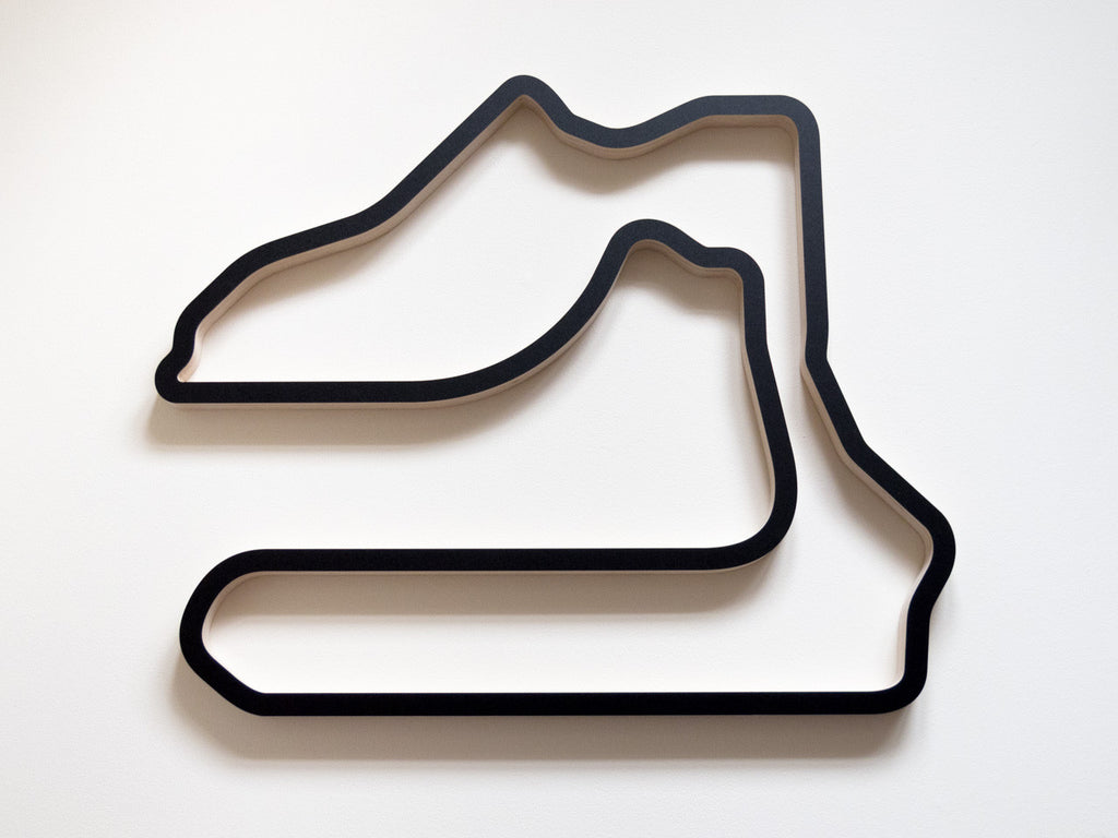 Sebring International Raceway Wooden Wall Art Carving in a Black Finish
