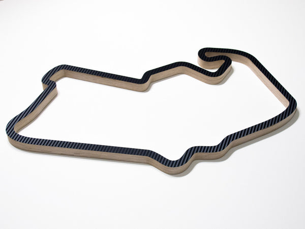 Silverstone GP Circuit 2000-2009 Wooden Sculpture in Carbon Alternative Angle