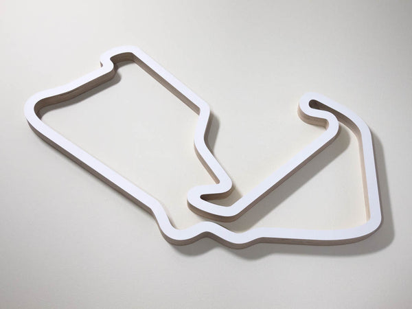 Silverstone GP Circuit UK F1 WEC MotoGP Wood Wall Art Race Sculpture on a Cream Background in a White Finish