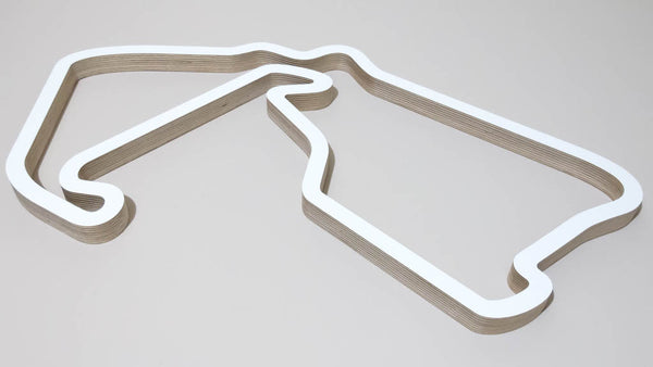 Silverstone GP Circuit UK Formula 1 Motorsport Wooden Wall Art Sculpture Inverted Aerial View in a White Finish