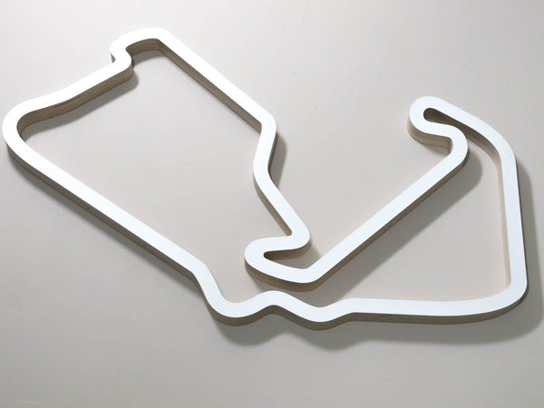 Silverstone Grand Prix Circuit UK F1 WEC MotoGP Race Course Art Sculpture on a Chocolate Background in a White Finish