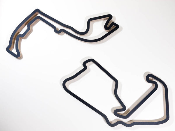 Silverstone and Circuit de Monaco Monte Carlo F1 Racing Track Wall Art Sculptures Displayed Together Aerial View in a Black Finish