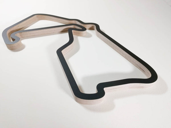 Silverstone Formula One British Grand Prix Racing Circuit Wall Art Replica Viewed from Club Corner in a Black Finish
