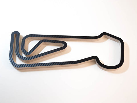 Snetterton 300 Circuit BTCC Wood Racing Track Wall Art Model Aerial View in a Carbon Finish