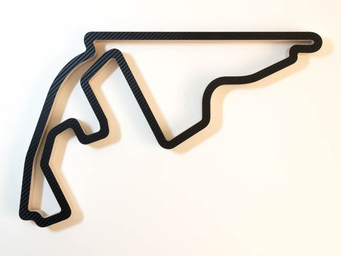 Yas Marina Abu Dhabi Wooden Formula One Grand Prix Race Track Wall Art Sculpture in a Carbon Finish