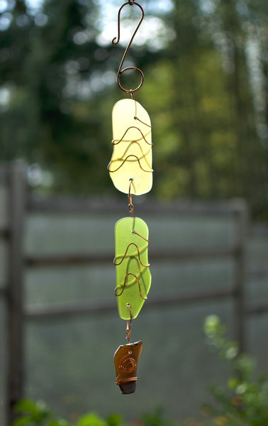 Beach Glass Sun Catcher Copper Suncatcher Handmade - Coast Chimes - 1