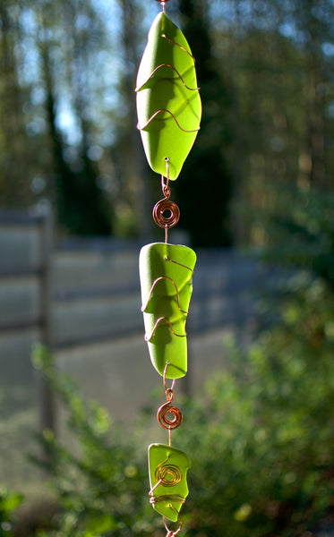 Green Glass Copper Handcrafted Art Wind Chime Garden Decor - Coast Chimes - 2