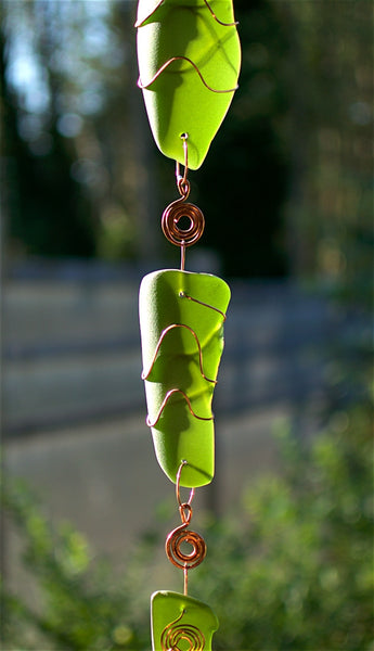 Green Glass Copper Handcrafted Art Wind Chime Garden Decor - Coast Chimes - 3