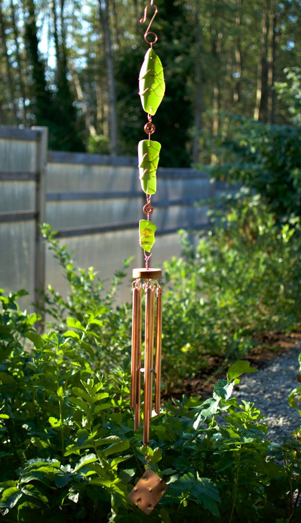 Green Glass Copper Handcrafted Art Wind Chime Garden Decor - Coast Chimes - 1