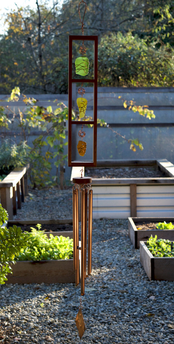 Windchime Sea Glass Cedar with Large Copper Chimes - Coast Chimes - 1