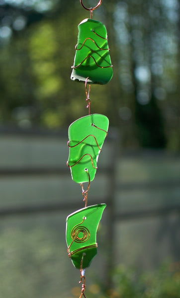 Emerald Green Glass Wind Chime Suncatcher Windchime - Coast Chimes - 2