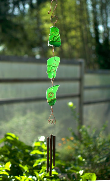 Emerald Green Glass Wind Chime Suncatcher Windchime - Coast Chimes - 1