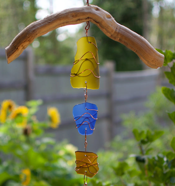 Wind Chime Driftwood Sea Glass Copper Outdoor