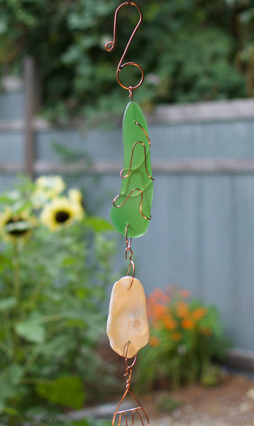 Outdoor Green Glass Copper Wind Chime Handcrafted