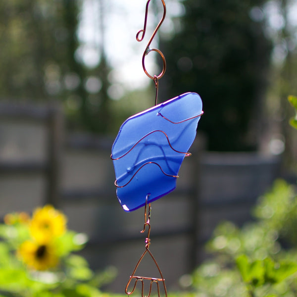 Cobalt Blue Sea Glass Wind Chime Brass Chimes Handcrafted