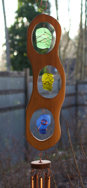 Wind Chime Colorful Sea Glass Cedar Outdoor Large Windchimes