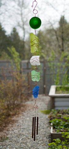Long Glass Copper Handcrafted Wind Chime