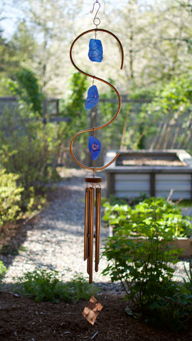 Wind Chime Copper Glass Large Outdoor Windchimes