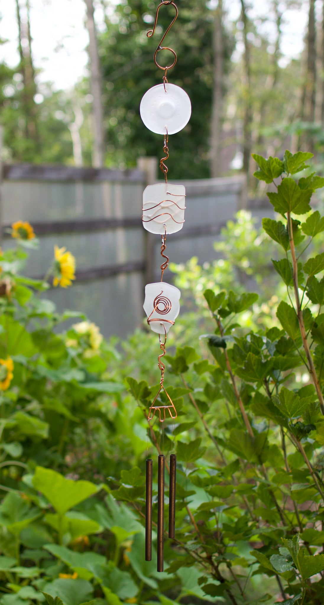 Frosty White Sea Glass and Copper Outdoor Handcrafted Wind Chime