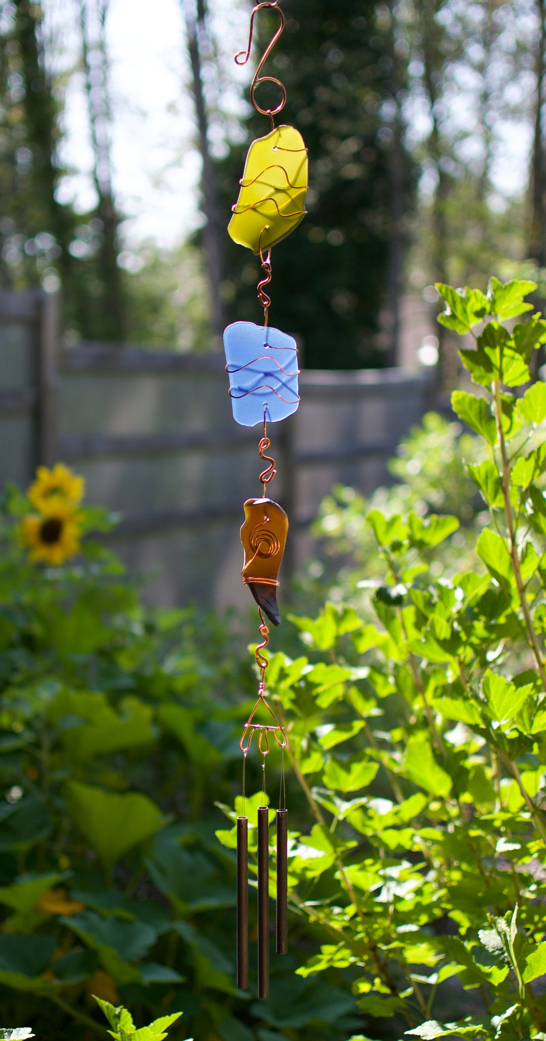 Wind Chimes Outdoor Sea Glass Copper Brass Windchimes