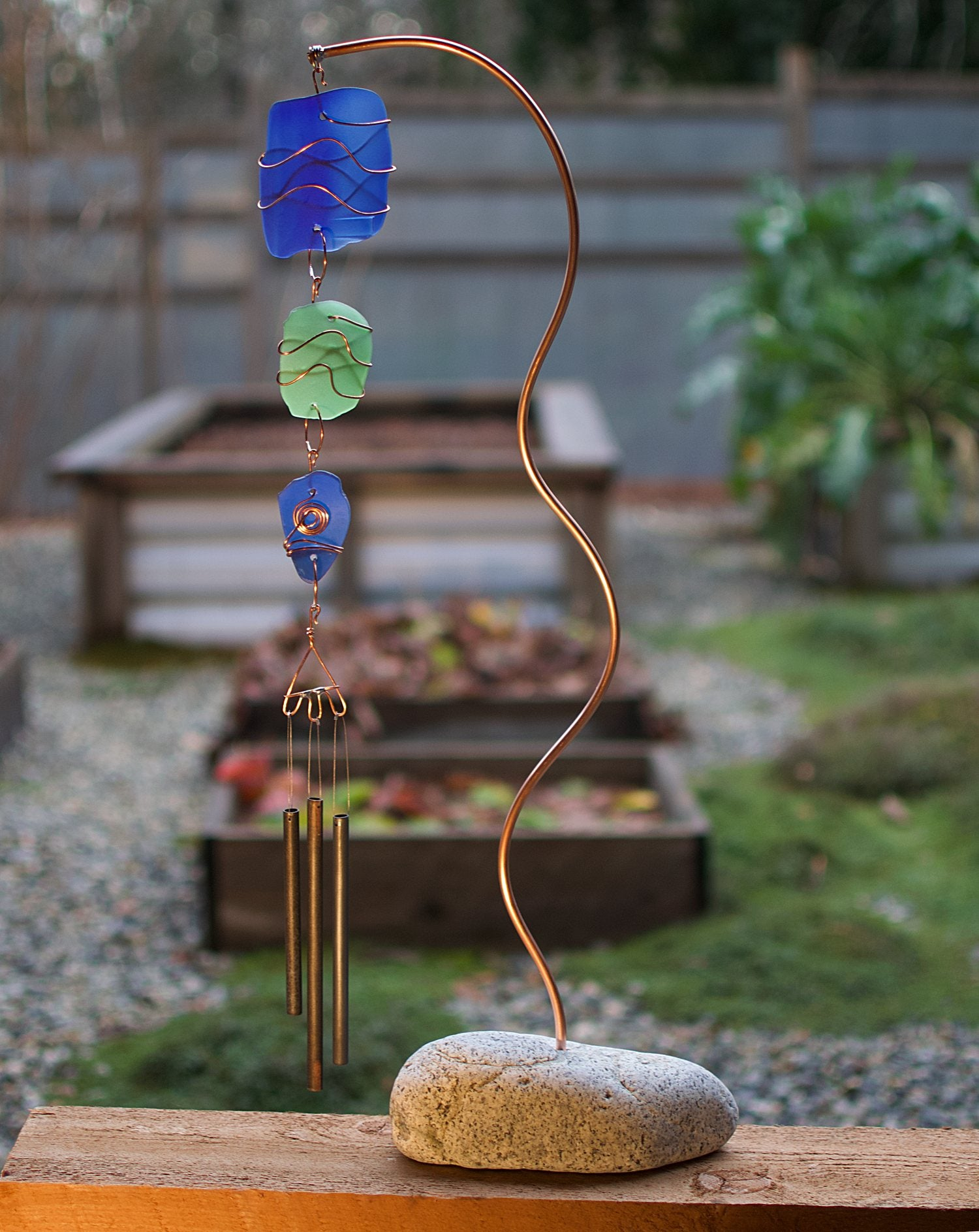 Wind Chime Freestanding Beach Stone Sea Glass Copper Outdoor