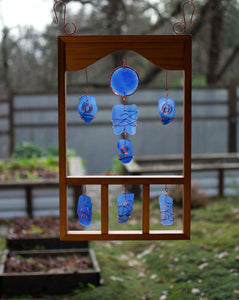 Suncatcher Large Framed Sea Glass Copper Sun Catcher