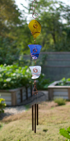 Wind Chime Outdoor Glass Copper Handcrafted Windchimes