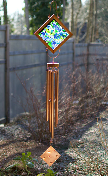 Wind Chime Cooling Soothing Blues Greens Outdoor Large Wind Chime